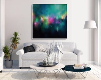 Minimalist Abstract Painting, Extra Large Wall Art, Large Wall Art, Aqua Blue Abstract, Abstract Aqua, Abstract Print, Pink Painting