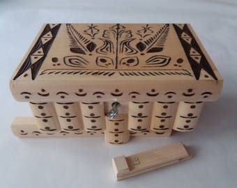 Puzzle box magic box natural with special brown carving big mystery secret box handmade tricky carved wooden box brain teaser treasure toy
