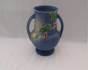 """Roseville Pottery Blue Fuchsia 8"""" Vase"""