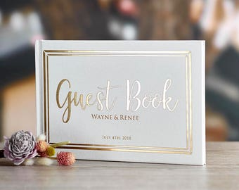 Gold Foil Wedding Guest Book Alternative Custom Wedding Guestbook Rustic Guest Book Unique Wedding Guest Book Gold Foil Guestbook -GC#001