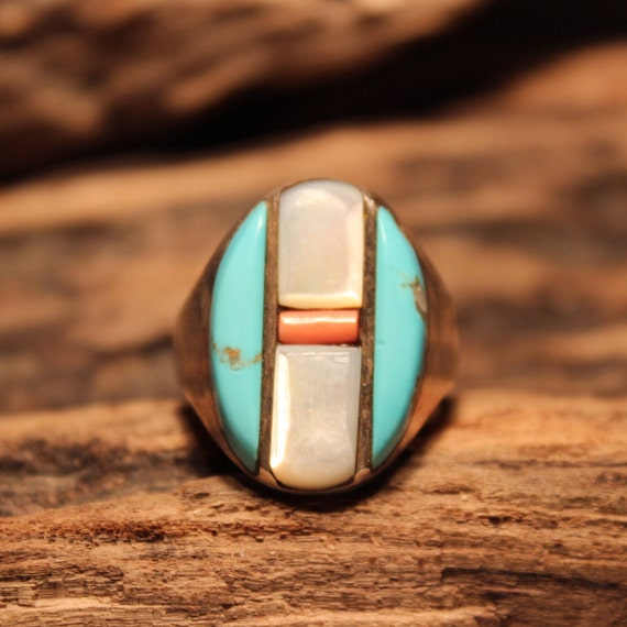 Large Vintage Mens Ring Zuni Native American Sterling Silver Size 12.5 Heavy 19.5 grams Turquoise Coral MOP Silver Ring Native American Ring