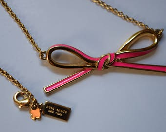 kate spade bow necklace pink enamel and gold