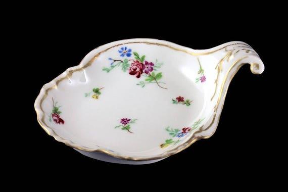 Antique Leaf Shaped Bowl, CFH GDM France Limoges, Hand Painted, Gold Trimmed, Footed, Trinket Bowl, Serving Bowl, Candy Bowl, Handled Bowl