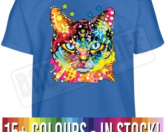 Kids Size Neon Cat T Shirt   Kitten Fashion Crazy Cat Meow Gift   Free UK Delivery