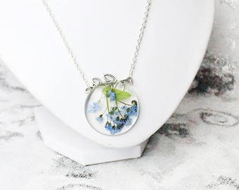 blue flower necklace branch jewelry nature necklace/for/mom gifts forget me not minimal necklace botanical necklace/for/wife gift idea Рю185