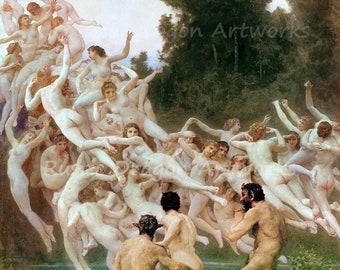 "William-Adolphe Bouquereau ""Les Oreades"" 1902  Reproduction Digital Print Greek Mythology Home Decor Wall Hanging"