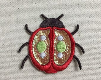 Beetle/Ladybug - Shimmery - 3D Wings - Red - Iron on Applique/Embroidered Patch