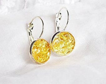 Raw Citrine jewelry, gift for woman Lucite stone earring, gift crystal jewelry Birthstone November Bright gift idea for wife shimmer jewelry