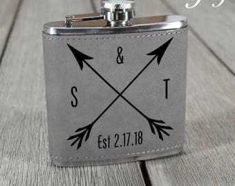 Wedding Anniversary Gift. Leather Anniversary Gift. Wedding Day Gift. Wedding Date. Monogram Flask. Personalized Anniversary Gift.