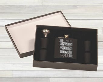 Graduation Flask Set. Graduation Gift. Class of 2018. Finally Done With This BS. Congratulations Gift. College Graduation. Funny Graduation.