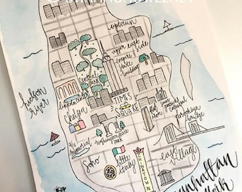 Watercolor map of Manhattan+FREE SHIPPING