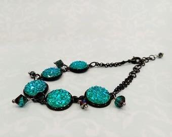 Titanium Blue Druzy Bracelet, Faux Druzy Bracelet