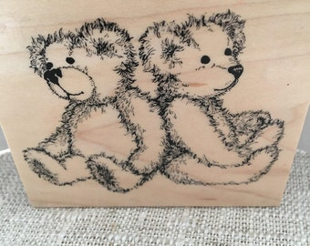 PSX Retired 1996 Twin Bears Rubber Stamp K-1911