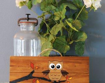 "Handmade Wood-Burned Autumn Owl Sign - 5"" by 12"""