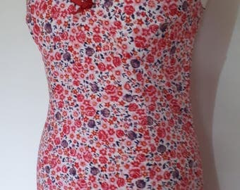 Vintage 90s pink red floral slip cami dress by Monsoon with spaghetti straps Dress size small medium
