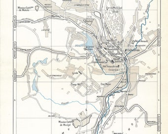 1962 Yaounde Cameroon Vintage map