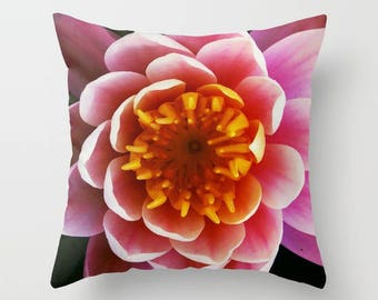 Throw pillow cover with water lily print, throw pillow cover, decorative pillow, flower print