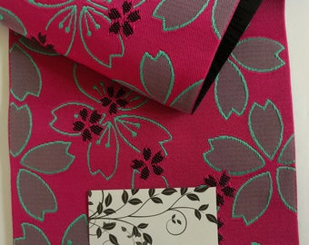 New, fuchsia pink and black sakura, cherry blossom Hanhaba yukata obi belt