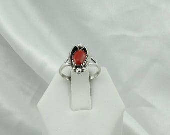 Vintage Navajo Southwest Native American Coral and Sterling Silver Ring  #CORAL-SR5
