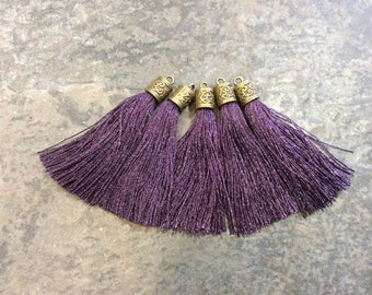 Dark Purple Silk tassels with Antique Bronze Filigree Caps Beautiful tassels for Jewelry Making Spring Color Tassels