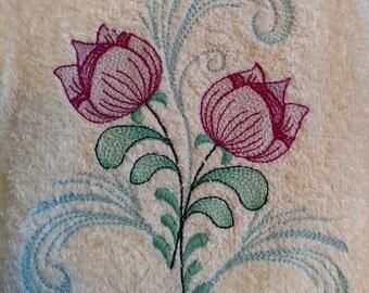 Dainty Tulip Flower Towel