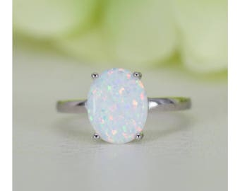 165 ct oval cabochon lab created white opal solitaire ring in sterling silver anniversary - Opal Wedding Ring