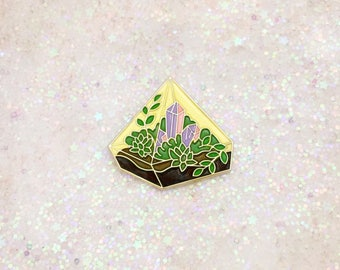 Succulent and Crystals garden pin