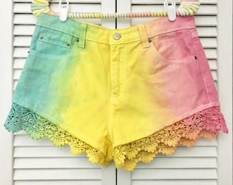 Tie-dye upcycled laced shorts!