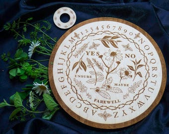 Wooden Ouija Board Round Spirit Board Specialty Designed Floral Herbal Game Plants Flowers Spiritual