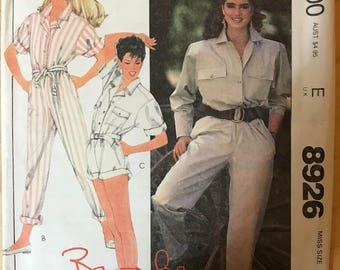 McCalls 8926 -  1980s Collared Jumpsuit  - Size Medium 14 - 16