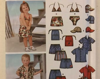 Simplicity 5951 - Easy to Sew Toddler's Summer Clothing Collection with Swimsuit, Button Front Top, Brimmed Hat, and Bag - Size 1/2 1 2 3 4