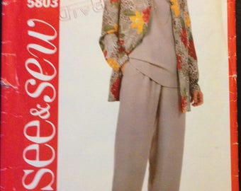 See & Sew 5803 Easy Wardrobe Separates Unlined Collarless Jacket, Round Neck Top and Straight Pants - Size 6 8 10