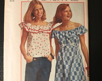 Simplicity 6226 - 1970s Super Simple Blouse or Mini Dress with Off the Shoulder Ruffle - Size Small 8 10