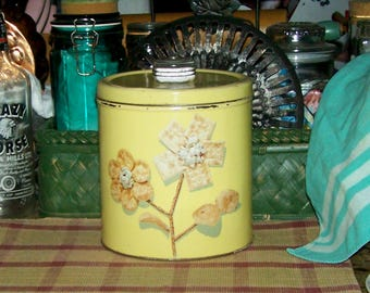 Vintage Yellow Canister Tin Krispy Kan Dri-Nob Canister - 398I