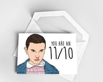 Stranger things card, valentines day card, love card, friendship card, stranger things eleven, funny greeting card, greeting card, eleven