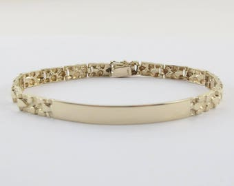 14k Yellow Gold ID Identification Nugget Bracelet 7 Inches 10.8 grams Engravable
