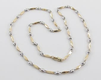 14k Yellow Gold Anchor Chain, Yellow And White gold Anchor Necklace, Men's gold Chain