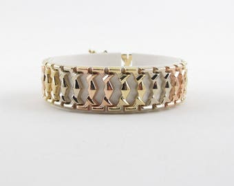 """14K Yellow White And Rose Gold Cleopatra Gypsy Bracelet 7"""" 16.7 grams"""