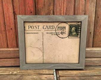 DRY ERASE POSTCARD | 16x20 or 11x14 | 12 Styles, Vintage Postcard Background, Shabby Chic, Rustic Picture Frame, Dry Erase