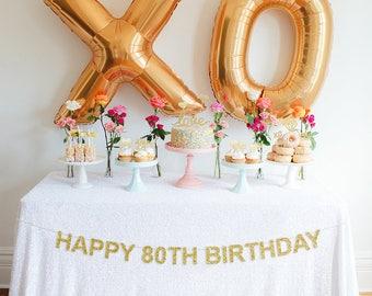 Happy 80th Birthday Banner, Glitter Birthday Banner, Birthday Banner, Party Banner, Milestone Birthday Decor, 80th Birthday Banner