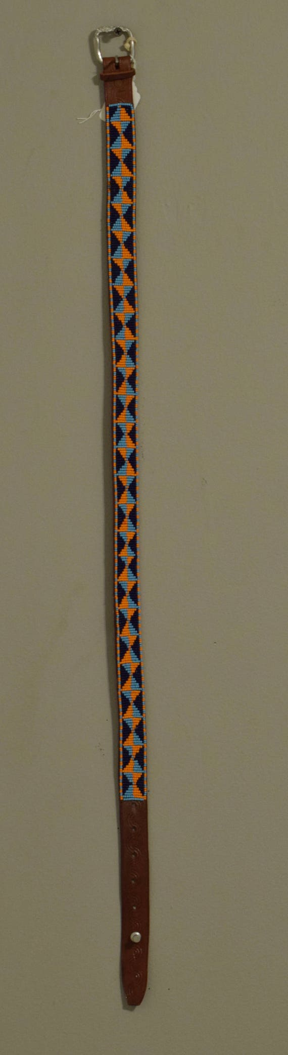 African Beaded Masai Leather Belt Handmade Men Women Orange Navy Beads Slacks Pants Skirts Masai Leather Belts