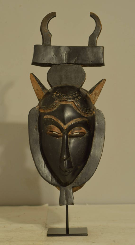 African Mask Hand Carved Wood Yaure Mask Ivory Coast Handmade Tribal African Home Decor  Mask Animal Female Gift Ideas Office Decor