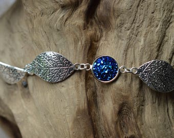 Blue Faux druzy Leaf Bracelet