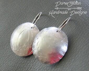 Artisian Earrings - Silver Disc Earrings - Textured Earrings - Large Disc Earrings - Hammered Earrings - Sterling Silver - Silver Circle