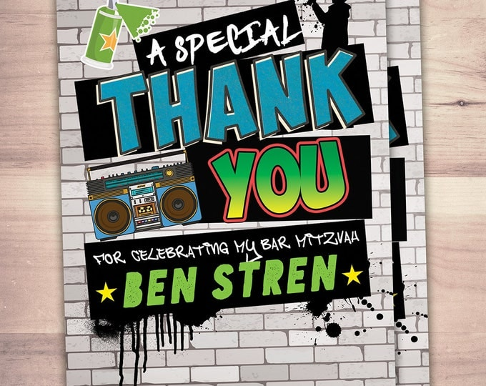 Thank you card, Hip Hop, Swagger, VIP PASS, backstage pass, hip hop birthday, pop star,Fresh Prince, 80s,90s