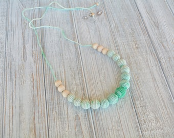 Teething necklace - Wooden nursing necklace for breastfeeding & babywearing moms - Crochet beads