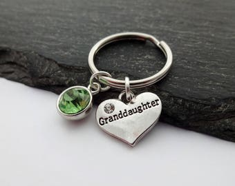 Granddaughter gift etsy granddaughter keyring granddaughter gifts heart keychain granddaughter present charm keyring granddaughter negle Gallery