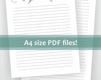 Digital A4 size lined letter writing paper. Printable pdf. Black and white floral design. Waterlily stationery. Download files.