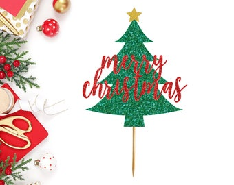 Merry Christmas Tree Cake Topper - Christmas Cake Topper - Merry Christmas - Christmas Party Supplies - Merry Xmas - Cake Topper - Holiday