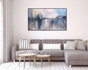 Painting Large Abstract Art Gray Wall Art Acrylic Painting/ Large Wall Art Canvas Original Gray Painting Living Room Art Wall Decor Christov